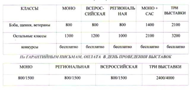 стоимость выставки